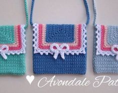 Crochet Pattern Round Circle purse bag INSTANT by avondalepatterns
