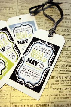 Custom Vintage SAVE THE DATE Tag - Sample. $1.75, via Etsy.  Can do any color scheme!