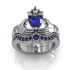 Heart Cut Sapphire Rhodium Plating Sterling Silver Claddagh Ring /... ($100) ❤ liked on Polyvore featuring jewelry and rings