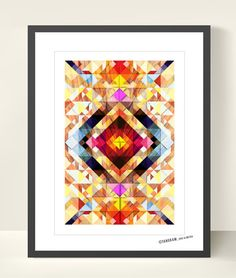 Geometric Art Tangram Poster. Abstract Wall Decor. Explosion of Colors ( 11.7 x 16.5 inches) | TANGRAMartworks | $21