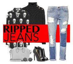"""""""Ripped jeans"""" by natcatt ❤ liked on Polyvore featuring Balmain, Yves Saint Laurent, See by Chloé, Frame Denim, Tom Ford, Givenchy, The Row, YSL, rippedjeans and skull"""