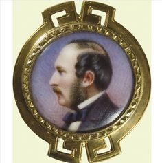 Stickpin Portrait of Prince Albert, 1865.     The pin was presented to one Nestor Tirard by Her Majesty Queen Victoria in 1865. On the pins reverse this gift has been inscribed: Nestor Tirard/fromVR. Coburg Aug 26./1865. The piece still retains its original blue velvet presentation case. After Prince Alberts death, the Queen often made commemorative gifts in her beloved husbands honor.
