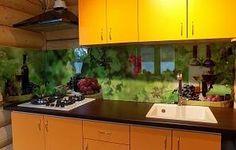 Скинали для кухни фото: вино и виноград, заказ #УТ-333, Желтая кухня.