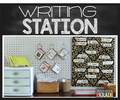 Writing station ideas galore!  Peg boards and drawers make the perfect storage solution for small spaces.  Display vocabulary cards, writing task cards, and house writing templates and printables all in one organized space!