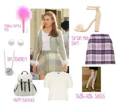 A fashion look from December 2013 featuring cream sweater, Trasparenze and day pack backpack. Browse and shop related looks. Cher Clueless Outfit, Clueless Fashion, 90s Fashion, Fashion Outfits, Clueless Style, Cher Horowitz, 90s Inspired Outfits, Character Inspired Outfits, Aesthetic Fashion