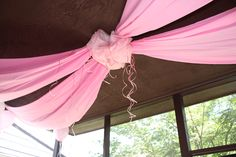 #pink fabric ceiling drapery- cool!