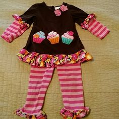 Toddler cupcake outfit 18 mo. Tights site sone wear but overall good condition. Other