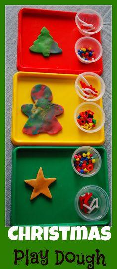 Christmas Play Dough - Use items you have at home to create seasonal play dough.  #Christmas #KidsActivities
