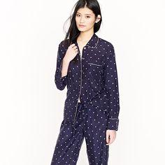 j crew silk pajama shirt in starstruck     machine washable silk!