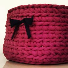 Crochet T-Shirt Yarn Basket - Tutorial ❥ 4U // hf