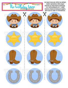 INSTANT DOWNLOAD PRINTABLE Little Cowboy Party Rounds Horse Birthday Parties, Cowboy Birthday, Farm Birthday, Toy Story Birthday, Cumple Toy Story, Festa Toy Story, Cowboy Theme, Cowgirl Party, Cowboy Baby Shower