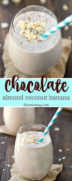 Chocolate Almond Coconut Banana Smoothie Recipe- great healthy snack or meal! Dairy-free, gluten-free, and vegan!