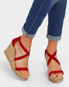 756347f7d3817 Buy Red Get Glamr Strappy Wedges with Zip Closure Cute Sandals