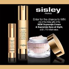 Enter for the chance to WIN one of five Sisley gifts of the NEW Supremÿa Cream & Supremÿa Eyes at Night ($1,110 retail value). First 500 entrants will receive a complimentary sample of the Supremÿa Cream.