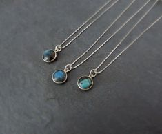 Labradorite Necklace Silver Labradorite Pendant Blue Flash   Etsy