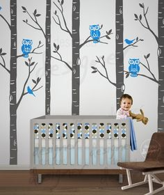 Children Wall Decal - Forest Tree wall decals - owl wall decal - Wall Sticker- home decor- dd1045