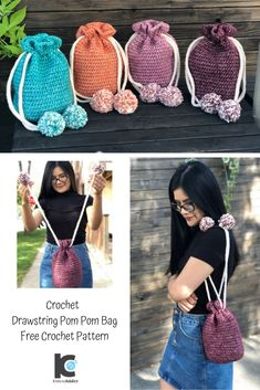 Quick and beginner friendly pattern for a versatile little handbag project. Hope you enjoy it. Crochet Drawstring Bag, Drawstring Bag Pattern, Crochet Hook Sizes, Crochet Stitches, Crochet Patterns, Bag Patterns, Crochet Toys, Crochet Baby, Knit Crochet