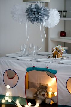 I love these tablecloth tents.  space saver, functional, and fun!  great combination.