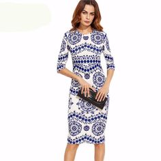 Blue And White Porcelain Print Slim Pencil Dress