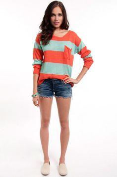 Coral and Seafoam Sweater