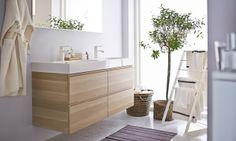 Verwen jezelf in een rustgevende badkamer. Prettige sfeer van IKEA.