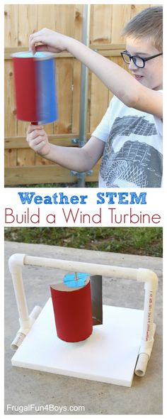 Build a Wind Turbine that spins in the wind. Fun weather science and engineering project.