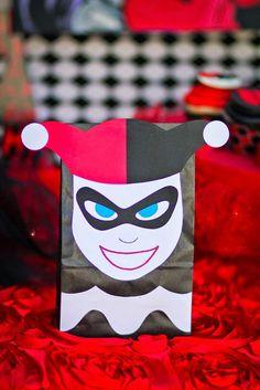 Harley Quinn Favor Sack From A Joker Inspired Mad Love Birthday Party Via Karas Ideas