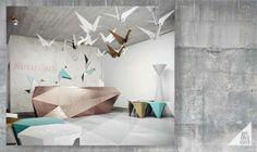Origami Stonehenge by adelina mocanu, via Behance