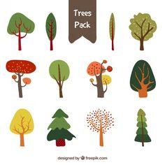 Cute trees pack Free Vector