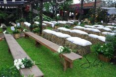 """Jose likes these as seating. No way on hay but a """"meeting halfway"""" could be the benches Adult Party Decorations, Wedding Reception Decorations, Wedding Ceremony, Wedding Ideas, Boho Wedding, Dream Wedding, Wedding Vintage, Ideas Aniversario, Pleasant View"""