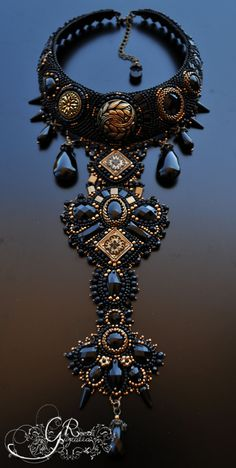 Beautiful, elegant, sophisticated necklace in gothic style will match almost any styles. Swarovski crystals, Japanese seed beads, Czech