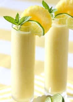 Frozen Pineapple Cooler (pineapple chunks, ice, lime juice, coconut milk, rum) skip the rum or use rum flavored syrup