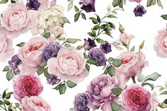 Seamless floral pattern with roses by ollalya on Creative Market