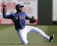 Texas Rangers shortstop Jurickson Profar throws to second after fielding a single by Cleveland Indians' Ryan Raburn during the third inning of an exhibition spring training baseball game on Thursday, Feb. 28, 2013, in Surprise, Ariz. (AP Photo/Charlie Riedel)