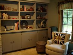 Bookcases and cabinetry painted with Chalk Paint® color French Linen. Shelving was removed but cabinet doors were painted in place. Beautiful transformation was easy. Done by Studio 184. #Chalk Paint® # painted cabinets