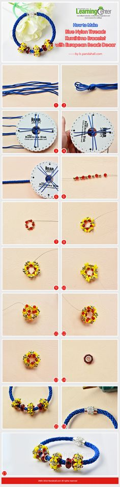 Tutorial on How to Make Blue Nylon Threads Kumihimo Bracelet with European Beads Decor from LC.Pandahall.com                      #pandahall
