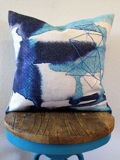 Ink Blue Watercolor Throw Pillow with Handstitched Geometry : Whipstitch by PIVOT Handmade
