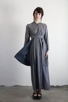 Antique Handmade Cotton Pioneer Prairie Dress.  handmade antique dress, circa turn of last century. made of sturdy cotton and features a built-in utility apron.