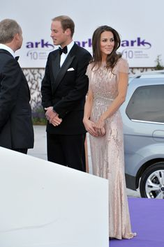 Prince William, Duke of Cambridge, Catherine and Duchess of Cambridge attend the 10th Annual ARK gala dinner at Kensington Palace on June 9, 2011 in London, England. (Photo by Nick Harvey/WireImage) via @AOL_Lifestyle Read more: http://www.aol.com/article/2016/06/22/kate-middleton-sparkles-2011-pink-jenny-packham/21400262/?a_dgi=aolshare_pinterest#fullscreen