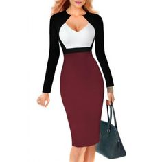 Sexy Color Block Long Sleeve Bodycon Midi Dress For Women (WINE RED,L) in Bodycon Dresses | DressLily.com