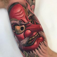 Tengu by @nicklaswestin at @family_art_tattoo in Barcelona Spain. #tengu #japanesefolk #nicklaswestin #familyarttattoo #barcelona #spain #tattoo #tattoos #tattoosnob
