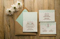 Mint & Kraft Wedding Invitation Wedding Invite by FlairNecessities