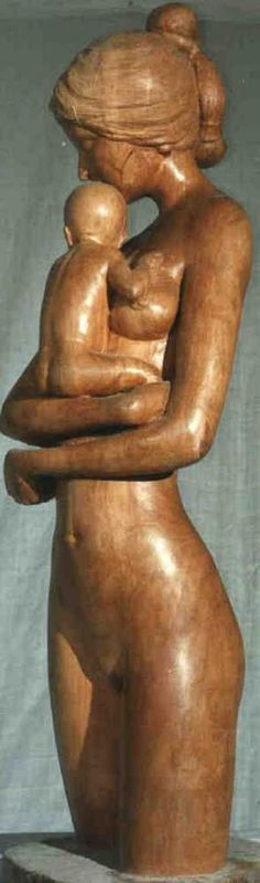 Apple wood Parent - Child sculpture by artist Gaetano Cherubini titled: 'Mother and Child (Carved Wood Mother and Infant statue/sculpture/carvi)'