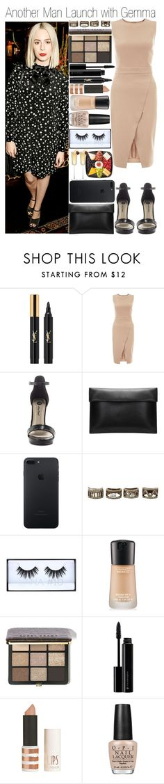 """""""• Another Man Launch with Gemma"""" by dianasf ❤ liked on Polyvore featuring Yves Saint Laurent, Payne, New Look, Michael Antonio, BaubleBar, Huda Beauty, MAC Cosmetics, Bobbi Brown Cosmetics, Illamasqua and Topshop"""