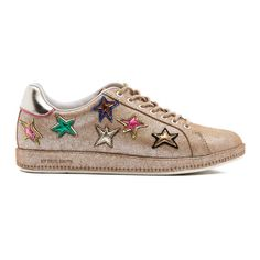 PS by Paul Smith Women's Lapin Metallic Star Print Trainers -... (3.390 ARS) ❤ liked on Polyvore featuring shoes, sneakers, gold, stitch shoes, star sneakers, grip trainer, metallic shoes and champagne shoes