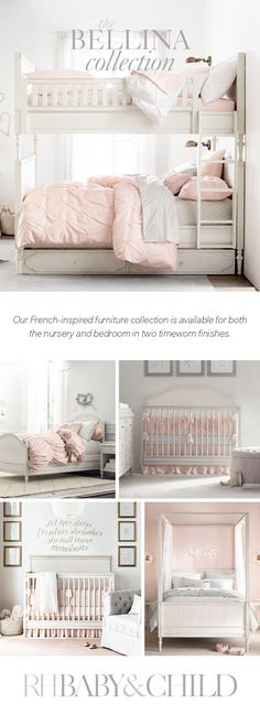 Create a feminine feel with our exquisitely detailed, French-inspired design. Sweetly sophisticated, the collection features raised moldings, rosette carvings and exquisite turned feet. Save 25% on everything with the RH Members Program. Shop the Bellina collection at RH Baby & Child.