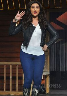 Parineeti Chopra looking cute in a white top with a leather jacket and ink blue denims at a special launch of the song 'Nakhriley' from 'Kill Dil'.