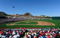TEMPE, AZ - MARCH 12: A sold-out stadium watches Los Angeles Angels of Anaheim take on the Los Angeles Dodgers during a spring training baseball game at Tempe Diablo Stadium on March 12, 2012 in Tempe, Arizona. (Photo by Kevork Djansezian/Getty Images)
