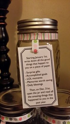 Blessing Jar. I think that making some smaller sizes of these would be great for Christmas presents. Spread the joy of the little things. If you pass it around, maybe other people in your life will start to take note of the blessings, and you will make people happy. A thought....
