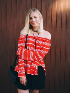 Red off-the-shoulder top, summer style